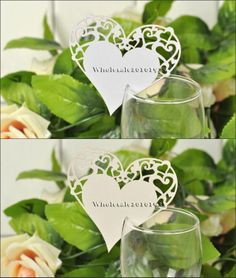 Set of 12 Laser Cut heart-shaped Wedding Place Name Card Wine Glass Cards TC25
