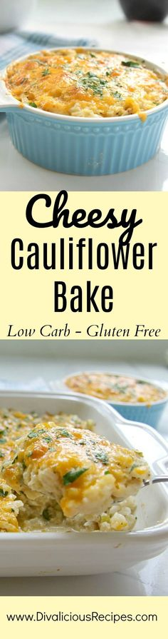 A cheesy cauliflower bake that is very easy to make. You could eat it as a side but I enjoy a serving with a side of salad for lunch.