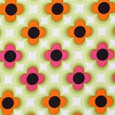Retro Flower Orange Pink Green - ÚPLET
