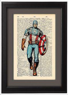 Captain America comic style Dictionary Print Book by Natalprint, $8.00