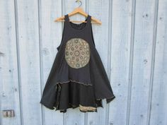 RESERVED// Mandala Trapeze Reconstructed Cotton Tank Top Tunic// Black Green// emmevielle