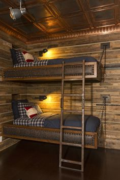 This rustic lodge style bunk room boasts a slew of built for Log cabin style bunk beds
