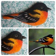 Купить Брошь-птица из шерсти - разноцветный, птица, брошь, брошь из войлока, брошь ручной работы