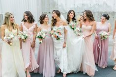 pastel bridal party in mix-n-match BHLDN styles | image via: style me pretty