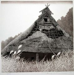 Tanaka Ryohei - Etching of a building in old rural Japan, deserted.