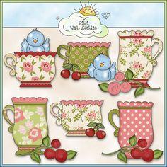 Grandma's Cherry Blossoms Teacups 1 - NE Cheryl Seslar Clip Art : Digi Web Studio, Clip Art, Printable Crafts & Digital Scrapbooking!