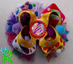 Boutique  hair bow , pom poms  bow , layered bow , stacked bow