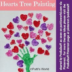 Heart Tree Painting for Valentine's Day!  Hearts can be stamped with heart shaped sponges, cookie cutters or if you have more time, make potato stampers with cookie cutters. (Potato stamps are so easy for little hands!) #slpeeps #schoolslp #pediOT #pediatricot #occupationaltherapy #Padgram