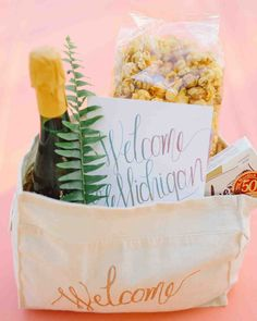 Get original and creative wedding welcome bag gift ideas for greeting out-of-town wedding guests to your celebration.
