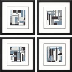 Geometric lines intersperse in our modern abstract art. Featuring raised white matting and framed in a modern black matte finish molding.