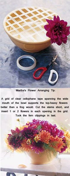 This works wonders with square vases too! tape in a lattice pattern to hold flowers in place. Genius!