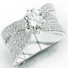 2.67 Carat IGI Certified 14K White Gold Modern Pave Set Triple Row Diamond Engagement Ring