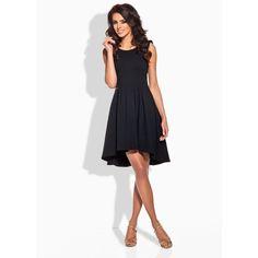 Stylish Black Dipped Hem Coctail Dress LAVELIQ