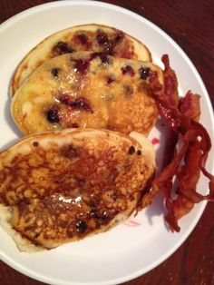 Blueberry pancakes and bacon!!!!  BB made it, my kitchen.