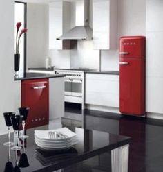 Red, black, white, modern, retro kitchen.