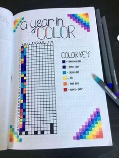 Bullet Journal Inspo, Bullet Journal 2019, Bullet Journal Notebook, Bullet Journal Ideas Pages, Journal Prompts, Bullet Journals, Journal Quotes, Bullet Journal Gift List, Bullet Journal Year In Pixels