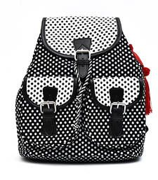 Polka dot printed classy canvas back pack