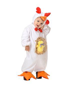 DisfracesMimo, disfraz de pollito blanco bebe 12 meses. El peque de la casa se convertirá en el despertador de la granja. Este disfraz es ideal para tus fiestas temáticas de animales y gallo para infantil. fabricacion nacional