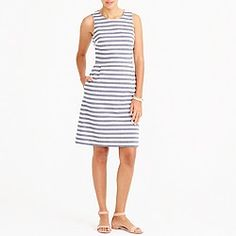 Striped pleated shift dress