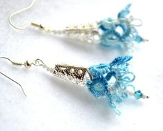 Hand Tatting Earrings, In Shades Blue, Cotton Yarn, Handmade Jewelry .