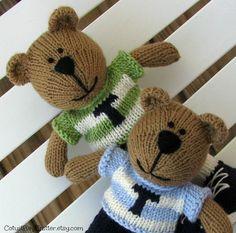 Custom Personalized Teddy Bear Twins  by cotuitbayknitter