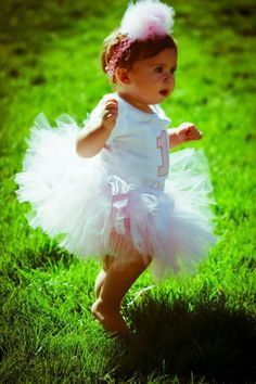 First birthday tutu outfit onesie headband tutu set 6 9 12 18 24 2t long or short sleeves. $42.00, via Etsy.