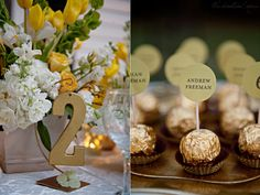 creative table number ideas for weddings | The Perfect Palette: {Antique Gold, Mustard, Yellow + Ivory}