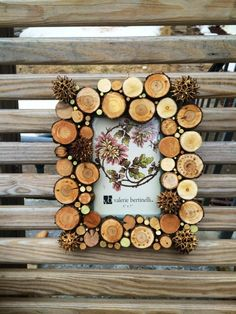 5X7 wood circle photo frame wood disc & by CatskillRevelDesigns, $42.50