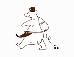 cafe H_charactor design on Behance Funny Illustration, Character Illustration, Graphic Illustration, Illustrations, Design Art, Logo Design, Bear Drawing, Bear Art, Animal Paintings