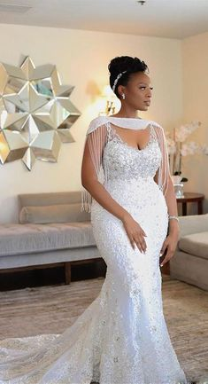2019 Luxury African Off Shoulder Mermaid Wedding Dress With Tassels Vintage Black Girl Plus Size Aso Ebi Lace Styles, Lace Dress Styles, African Lace Dresses, Latest African Fashion Dresses, Dress Fashion, Lace Styles For Wedding, Plus Wedding Dresses, Bridal Dresses, Wedding Ideas