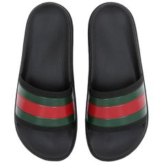 Gucci Men Striped Web Rubber Slide Sandals ($185) ❤ liked on Polyvore featuring men's fashion, men's shoes, men's sandals, black, mens shoes, gucci mens sandals, mens black shoes, mens rubber shoes and mens sandals