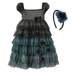 Isobella & Chloe Neverland Dress and matching Headband. Black.
