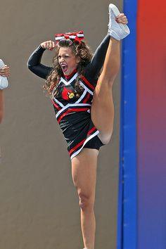 University of Louisville Cheerleaders, cheerleading, stunt moved  from Kythoni's Cheerleading: Stunt: Heel Stretch board m.82.16 #KyFun #cheer