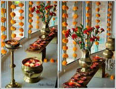 Diwali Décor, Diwali Inspiration, Diwali party, Diwali party décor, Diwali table settings, Indian brass décor, Indian home décor, Indian Inspired Decor, South Indian theme party, Tamil party ideas, Chennai express party, marigold