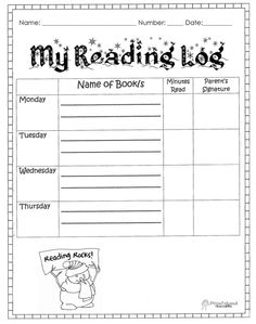 Daily Reading Log for your Students and to get parental ...