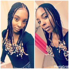 Braids, beads, and shells Serving all this Black Girl Magic Latest Braided Hairstyles, Box Braids Hairstyles, Short Bob Hairstyles, African Hairstyles, Down Hairstyles, Girl Hairstyles, Cornrows With Beads, Easy Braided Updo, Natural Hair Styles