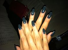 dark blue-grey almond nails