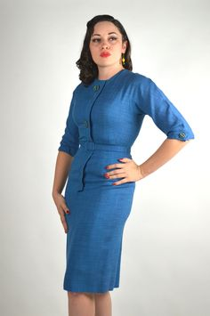 1950's Blue Wiggle Dress with Large Green Buttons, Blue Pin Up Dress, Sexy Blue Dress, Blue Vintage 50's Dress Size Medium by BuffaloGalVintage on Etsy