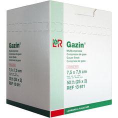 GAZIN Mullkomp.7,5x7,5 cm steril 8fach:   Packungsinhalt: 25X2 St Kompressen PZN: 03449019 Hersteller: Lohmann & Rauscher GmbH & Co.KG…