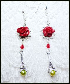 #454--Small Eiffel tower, polymer roses, glass pearls, and crystal earrings by Cherie T. Barnes