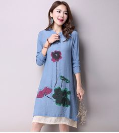 2016 Spring New Women's National Wind Casual Long-Sleeved Cotton Linen Dress Plus Size Long Linen Dresses Simple Printing CX002   http://www.dealofthedaytips.com/products/2016-spring-new-womens-national-wind-casual-long-sleeved-cotton-linen-dress-plus-size-long-linen-dresses-simple-printing-cx002/