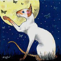 LTD ED SIAMESE CAT MOON PAINTING PRINT SUZANNE LE GOOD