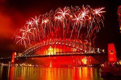 Fireworks from Sydney Harbour Bridge on New Year's Eve.