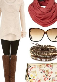 fall style... Color combo. Black leggings - white over-sized sweater - accessories galore