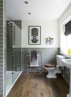 Badezimmer - graue kacheln - duschwand