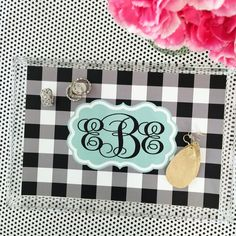 Personalized stacking acrylic vanity tray by PaperDoll Designs www.paperdolldesignsshop.com