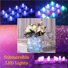 24 Waterproof Underwater Submersible LED Candle Lights Wedding Celebration Flora #Unbranded