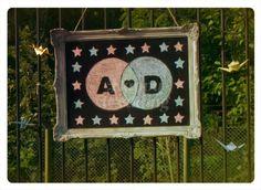 Cartel en la entrada #Ambientacion de #boda D+A · Realizada por Happy #Wedding