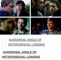 Destiel, Johnlock, Merthur- I love how two of these pictures are of Sherlock Holmes looking over at John Watson. Destiel, Johnlock, Tumblr Funny, Funny Memes, Hilarious, Silly Memes, Movie Memes, Paul Rudd, Merlin Fandom