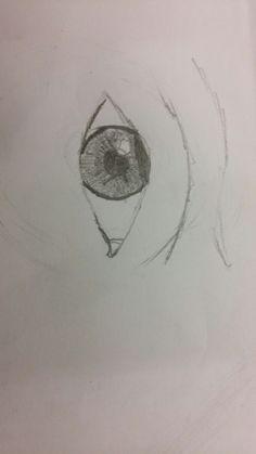 Dit is een schets van het oog, ik ga de wenkbrauwen niet maken, maar die doe ik in een los rondje maar wel wat details van de huid erom heen.